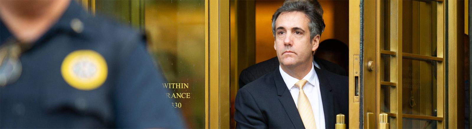 Donald Trumps ehemaligen Anwalt Michael Cohen nach seiner Aussage vor Gericht am 21. August in New York