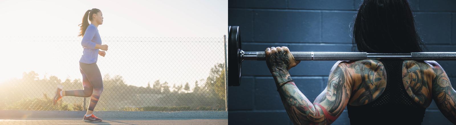 Collage aus Joggerin und Bodybuilderin