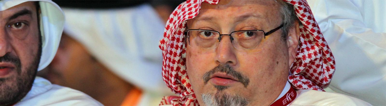 Der saudische Journalist Jamal Khashoggi beim Arab Media Forum 2012 in Dubai