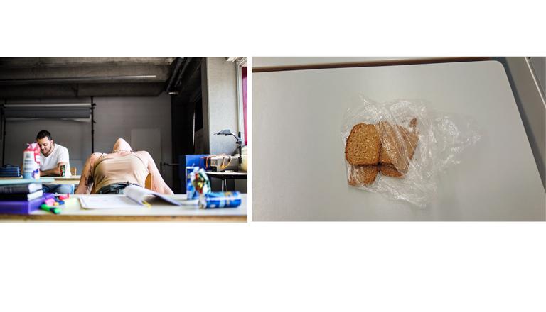 Unsere Collage zeigt ein gestelltes Symbolfoto (links) von Lernenden und den Rest des Brotes (rechts), den Rebekka von ihrer Reportage wieder mitgebracht hat.