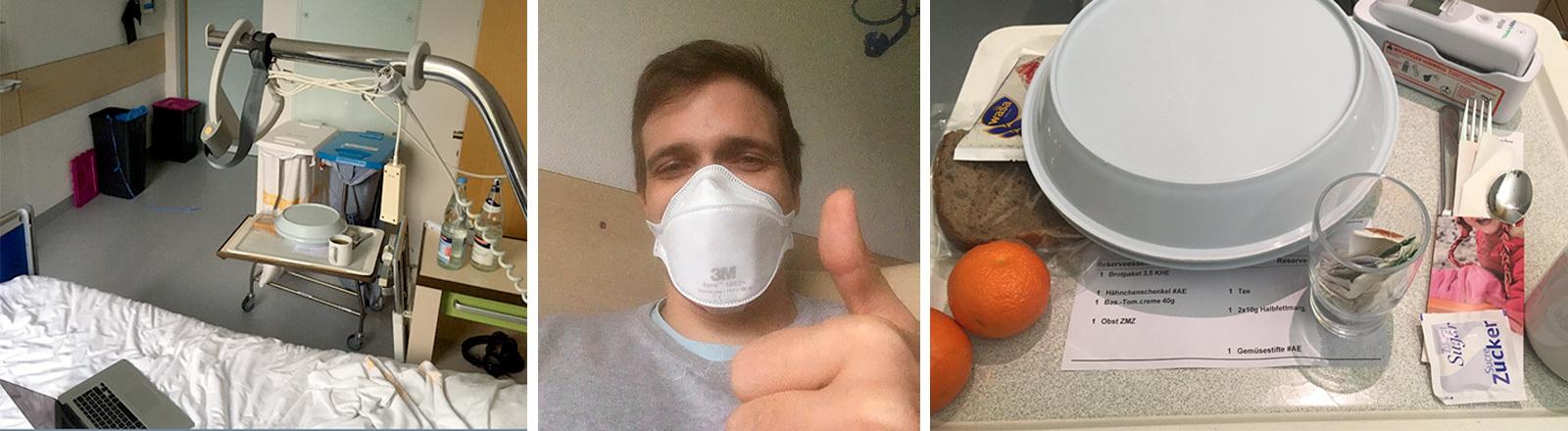 Bild mit Krankenhausessen und Mann mit Atemschutz