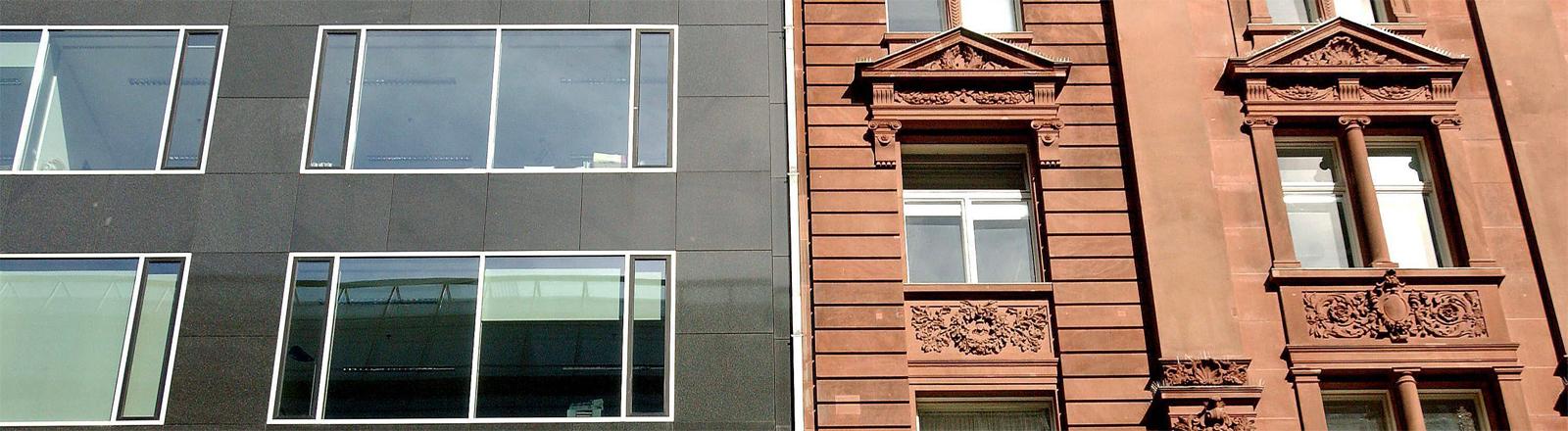 Neubau und Altbau in Berlin - Aufnahme aus dem Jahr 2004