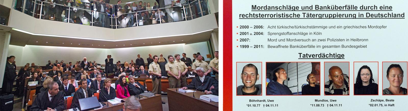 Der Verhandlungssaal im Oberlandesgericht München (links) und das Fahndungsplakat , das die Ermittler am 1. Dezember 2011 der Öffentlichkeit vorgestellt haben.