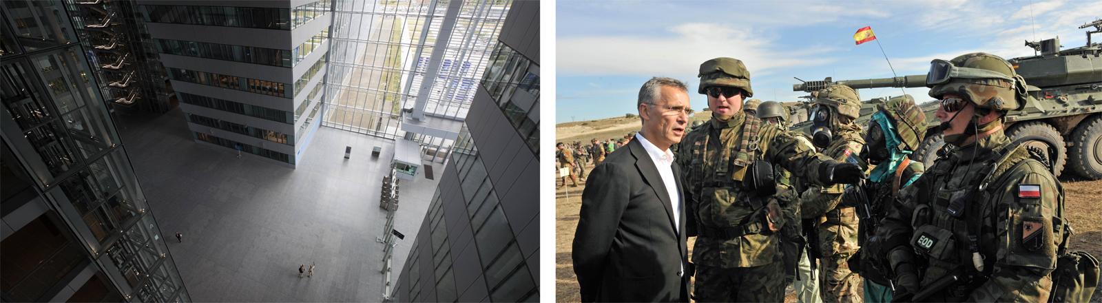 Das neue Nato-Hauptquartier in Brüssel und Jens Stoltenberg, Nato-Generalsekretär, während einer Militärübung in Spanien im Jahr 2015