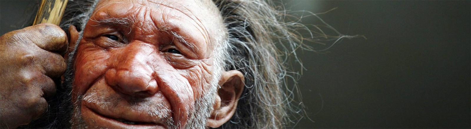 Nachbildung eines Neandertalers im Neandertal-Museum in Mettmann bei Düsseldorf
