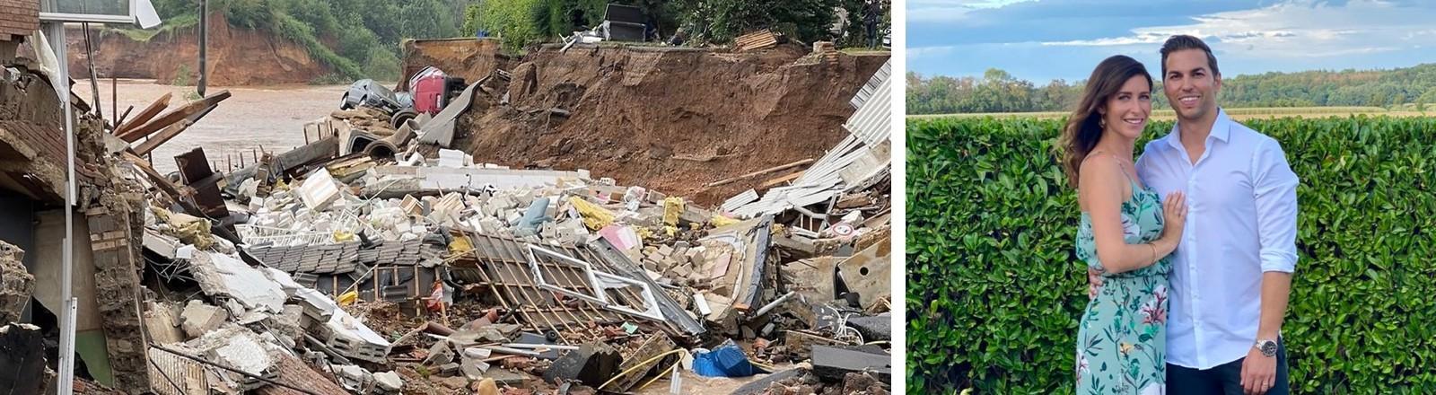 die Trümmer des Wohnhauses und dahinter die Fluten, Nora da Silva und ihr Mann