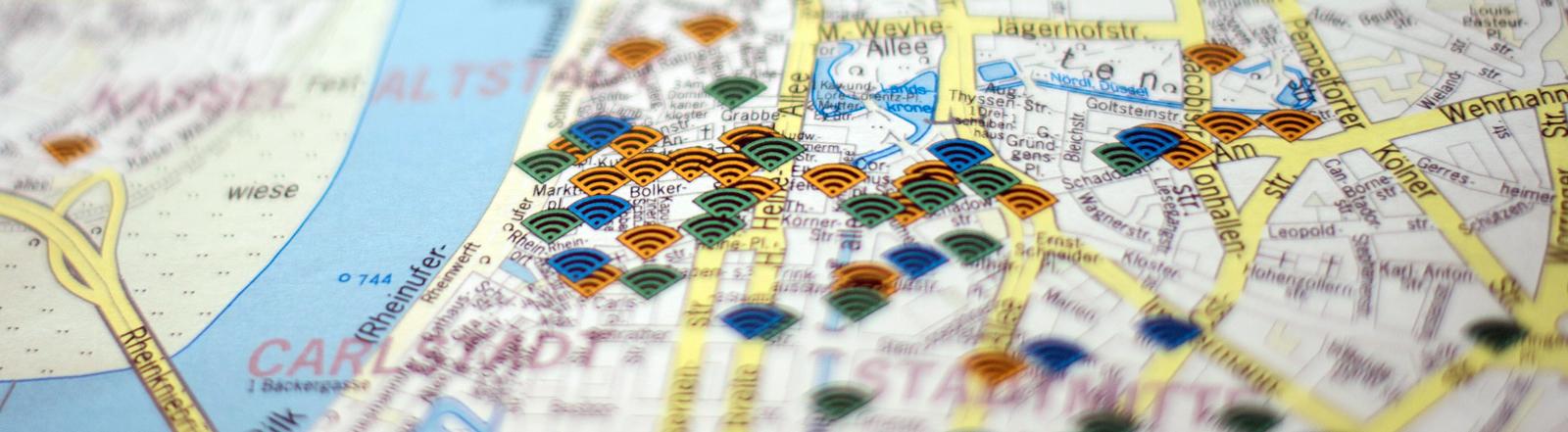 Karte von Düsseldorf mit Wlan-Symbolen