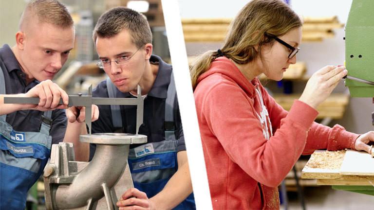 Collage: Auszubildende zwei Männer, eine Frau, Handerwerkberuf