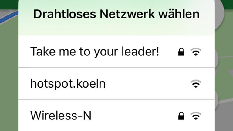 """Menü """"Drahtloses Netzwerk wählen"""""""
