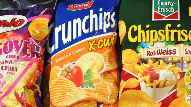 Chisptüten verschiedener Marken Chipsfrisch Crunchips Chio