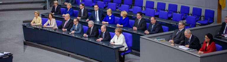 Das Kabinett Merkel IV bei der konstituierenden Bundestagssitzung am 14. März 2018