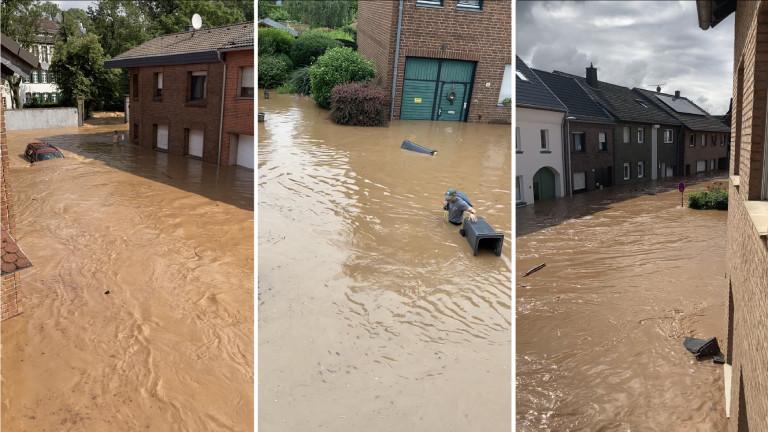 Ein überschwemmter Ort: Aufnahme der Straße vor Noras Haus in Blessem als dieses noch stand