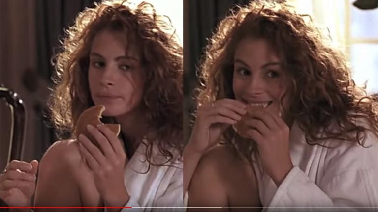 Julia Roberts isst einen Pancace