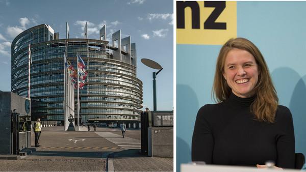Das Gebäudes des europäischen Parlaments in Straßburg und Terry Reintke, grüne Europa-Abgeordnete im Oktober 2010 bei einer Veranstaltung in Berlin