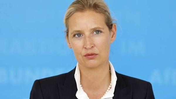Portrait von Alice Weidel vor hellblauem Hintergrund