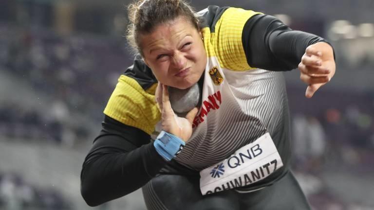 Kugelstoßerin Christina Schwanitz 2019 während der IAAF World Athletics Championships.
