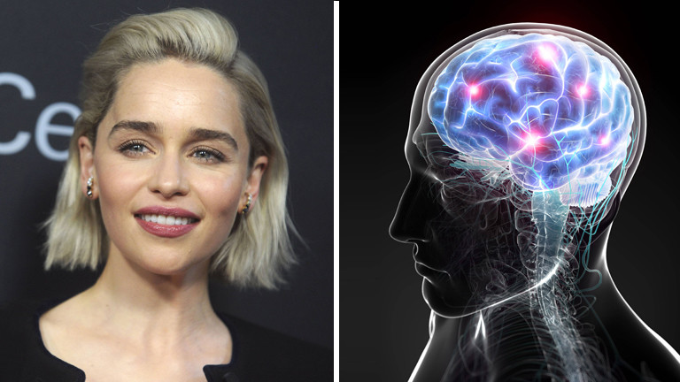 Collage: Emilia Clarke / Ein Gehirn. Abbildung von Gehirntätigkeit.