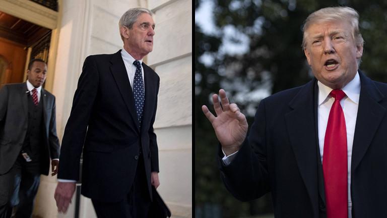 Collage von Robert Mueller und Donald Trump