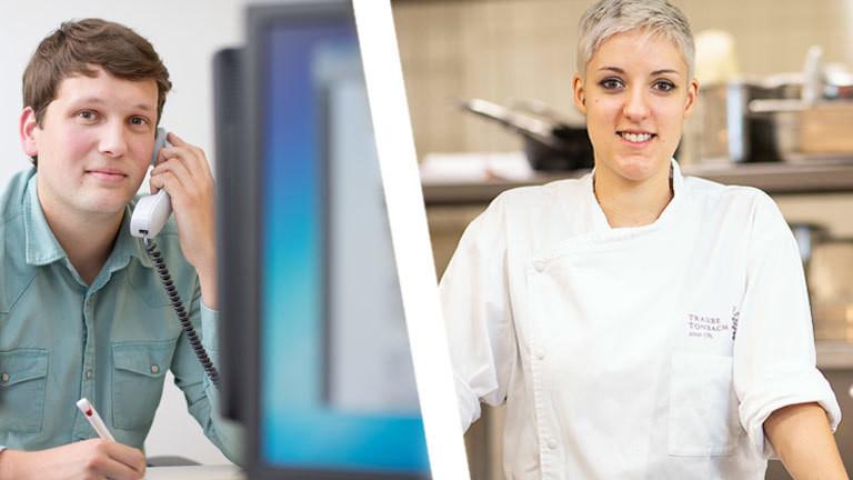 Collage: Zwei Ausbildende (Bürokaufmann und Köchin)