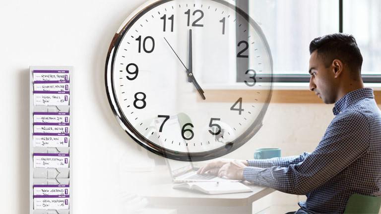 Collage, Stechuhr, Uhr und Mann am Laptop