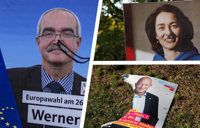 Verschiedene zerstörte und beschmierte EU-Wahlplakate