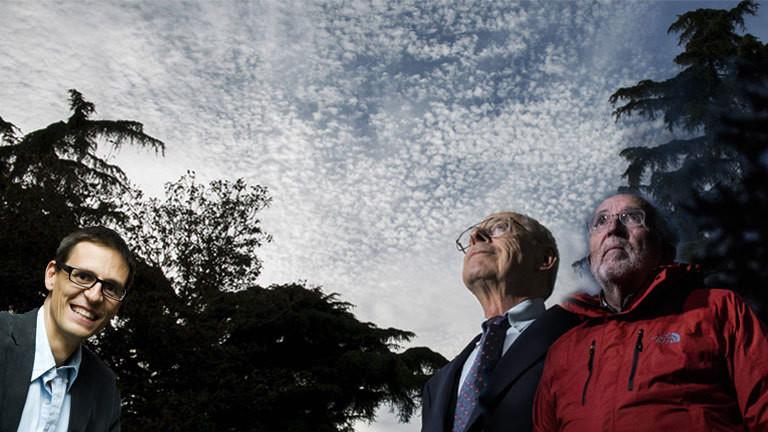 Physiker James Peebles erhält Nobelpreis 2019 (Foto: Madrid 2015); Michel Mayor Schweizer Astrophysiker Nobelpreis 2019 (Foto: 2017 Schweiz); Didier Queloz Schweizer Astrophysiker Nobelpreis 2019 (Foto: 2009)