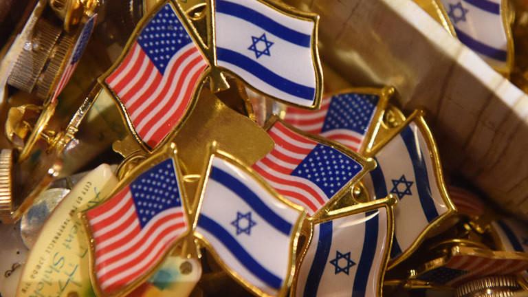 Sticker mit US-Flagge und israelischer Flagge