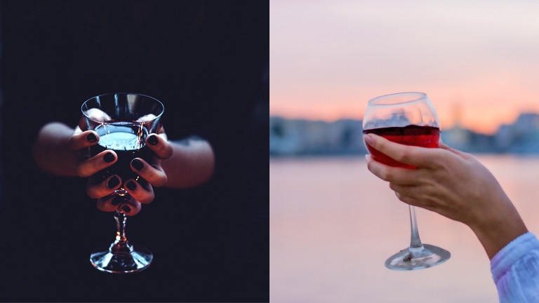 Collage: Dunkles und helles Weinglas