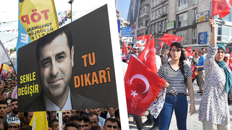 Collage Plakat Kandidat HDP und Erdogan-Anhänger in Izmir