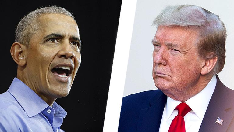 Collage: Barack Obama vs Donald Trump