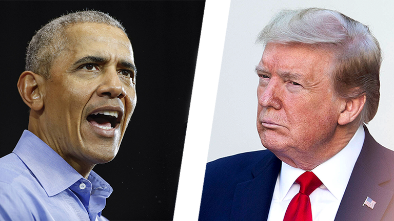 Collage: Barack Obama vs Donald Trump