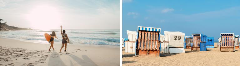 Collage: Surferinnen am Strand und Strandkörbe an der Nordsee