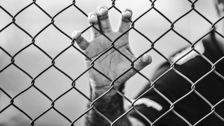 Eine Hand krallt sich in einen Zaun.