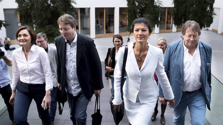 Simone Lange, Bürgermeisterin von Flensburg (SPD), Prof. Bernd Stegemann, Sahra Wagenknecht (Die Linke) und Ludger Volmer (B90/Die Grünen)