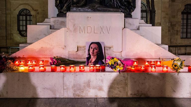 Provisorischer Erinnerungsort für die Reporterin Daphne Caruana Galizia in der maltesischen Hauptstadt Valetta