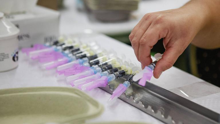 Vorbereitung einer Impfung im niederländischen Gemert im Oktober 2018