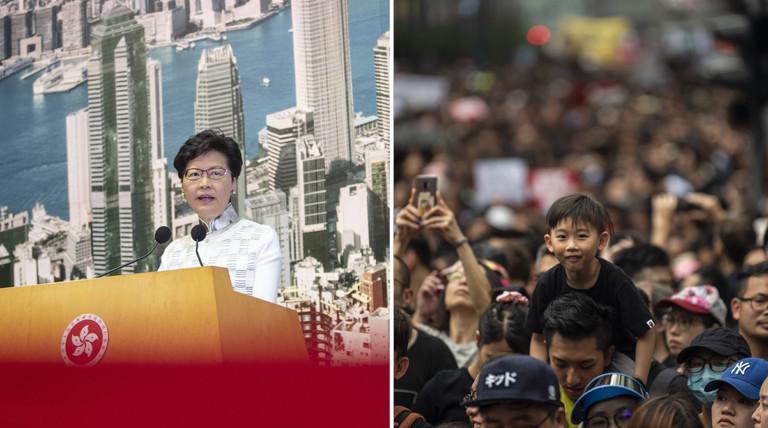Carrie Lam, Regierungschefin der chinesischen Sonderverwaltungszone Hongkong, am 15.06.2019 und Demonstrierende am 16.06.2019
