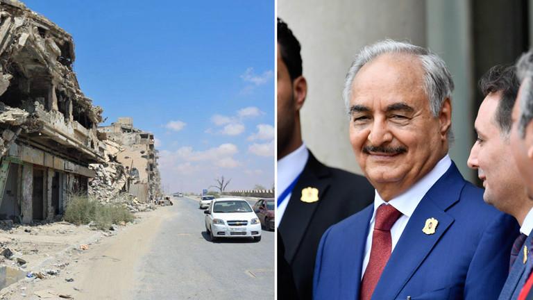 Zerstörungen im libyschen Benghazi und der Militäroffizier Chalifa Haftar
