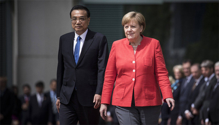Li Keqiang Ministerpräsident von China und Bundeskanzlerin Angela Merkel während der deutsch-chinesischen Regierungskonsultationen in Berlin am 9. Juli 2018