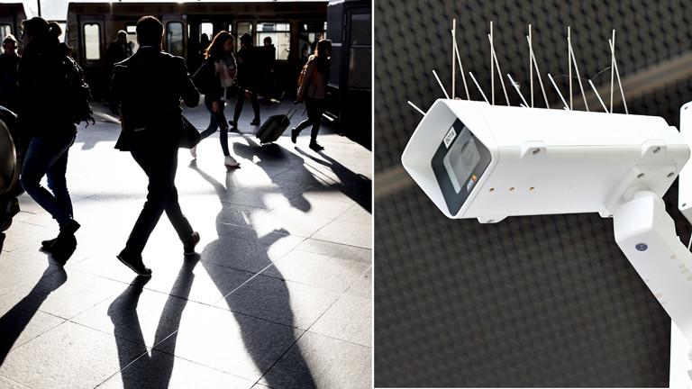Menschen am IT-gestützte Verhaltensüberwachung: Bahnhof Berlin Südkreuz und eine Überwachungskamera