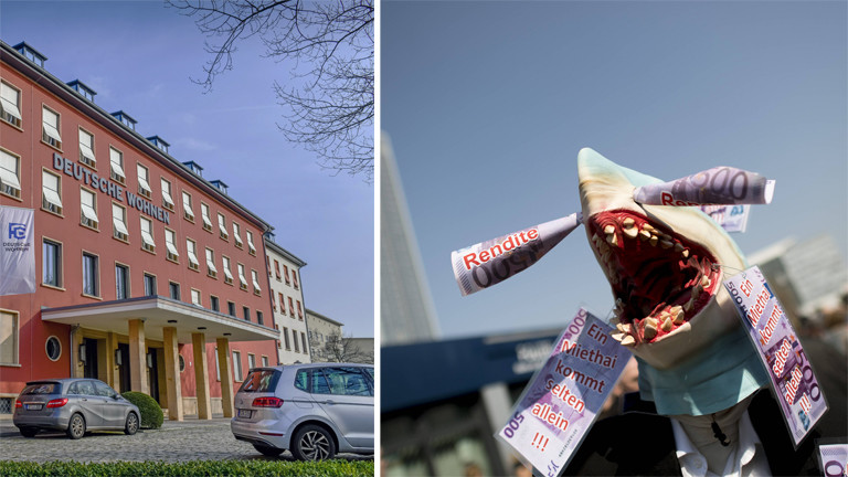 Bürogebäude der Deutsche Wohnen in Berlin und Demonstration gegen die Entwicklung des Mietmarkts am 06.04.2019