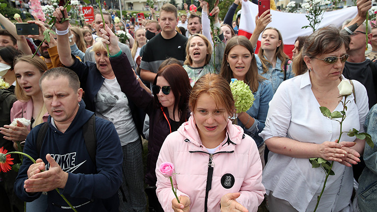 Protestierende in Minsk