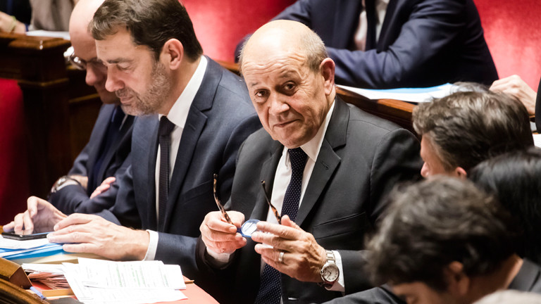 Paris, France December 17, 2019 - Session of questions to the government at the French National parliament - Jean-Yves Le Drian