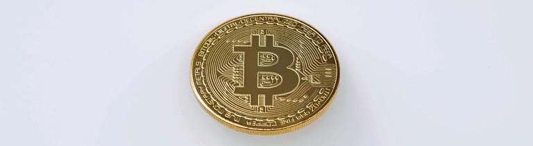 Eine symbolische Einheit der Kryptowährung Bitcoin