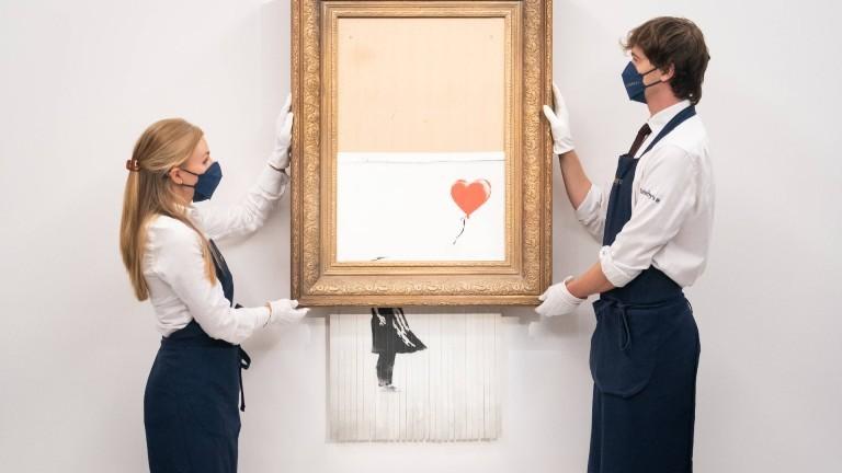 """Zerschreddertes Bild von Banksy """"Love is in the Bin"""", ehemals """"Girl with Balloon"""""""
