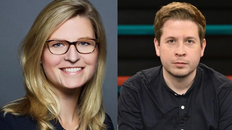 Eva Keldenich (CDU) und Kevin Kühnert (SPD)