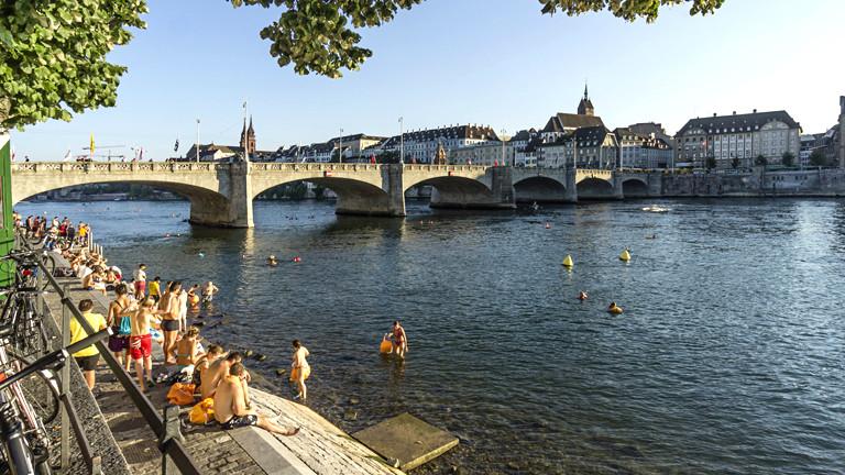 Schwimmer im Rhein