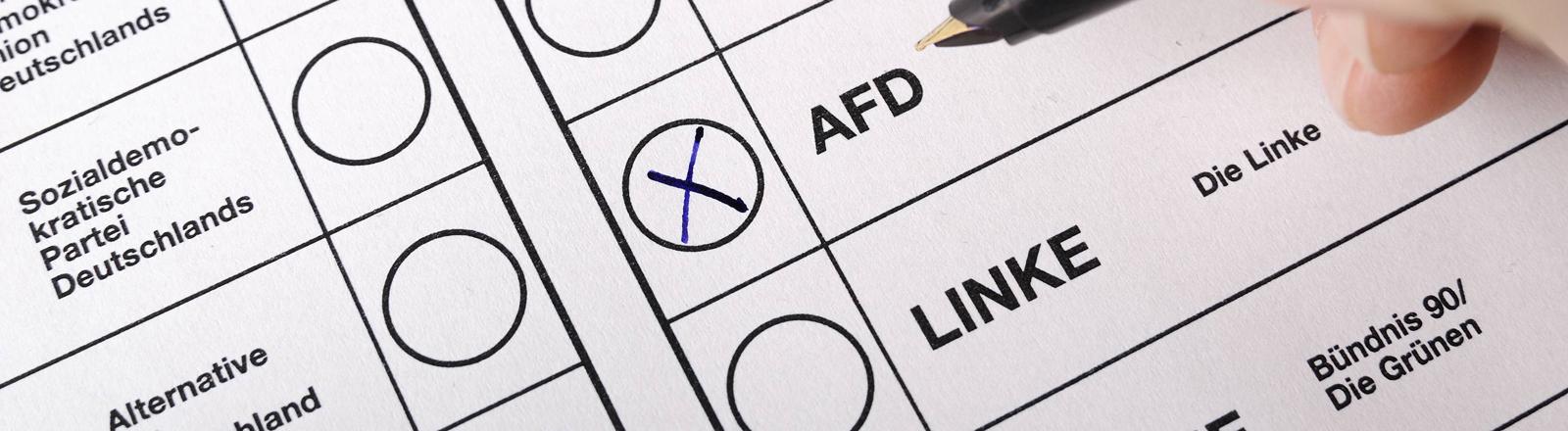 Kreuz bei der AFD auf dem Wahlschein.