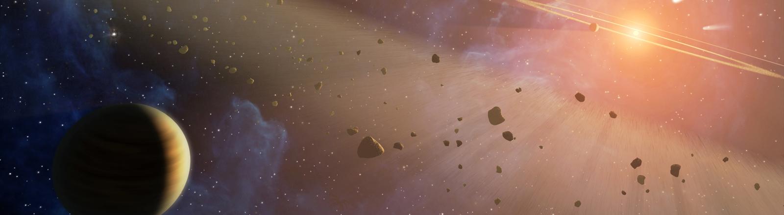 Grafik zeigt Planeten und Asteroiden.