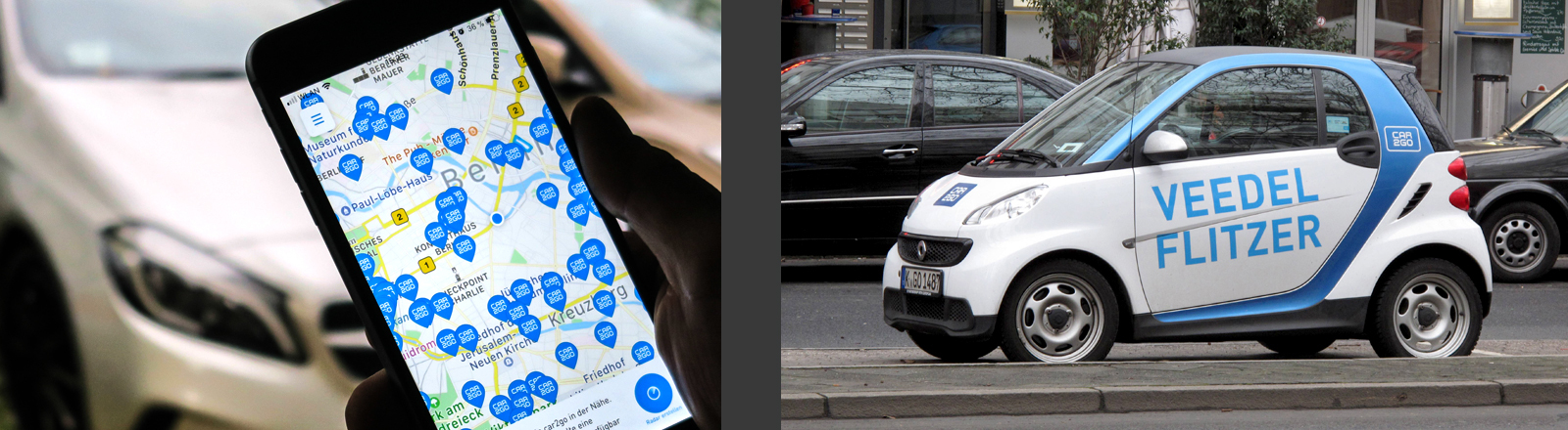 Carsharing-Auto und Carsharing-App